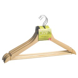 Percha Oryx Madera Recta 450 mm. (Pack 3 Piezas)